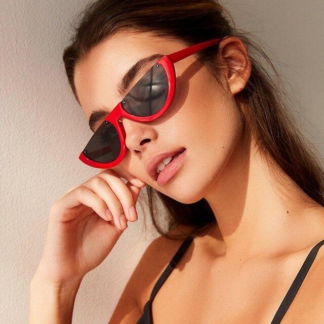 67c6beee15a Cool Small Size Half Frame Cat Eye Sunglasses Women 2019 Fashion HD Brand  Designer Semi Rimless Sun glasses Vintage Shades UV400