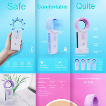 Portable USB Cordless Bladeless Fan Rechargeable Handheld Mini Cooler No Leaf Handy Fan 12 V 2000mAh With 3 Fan Speed Level(China)