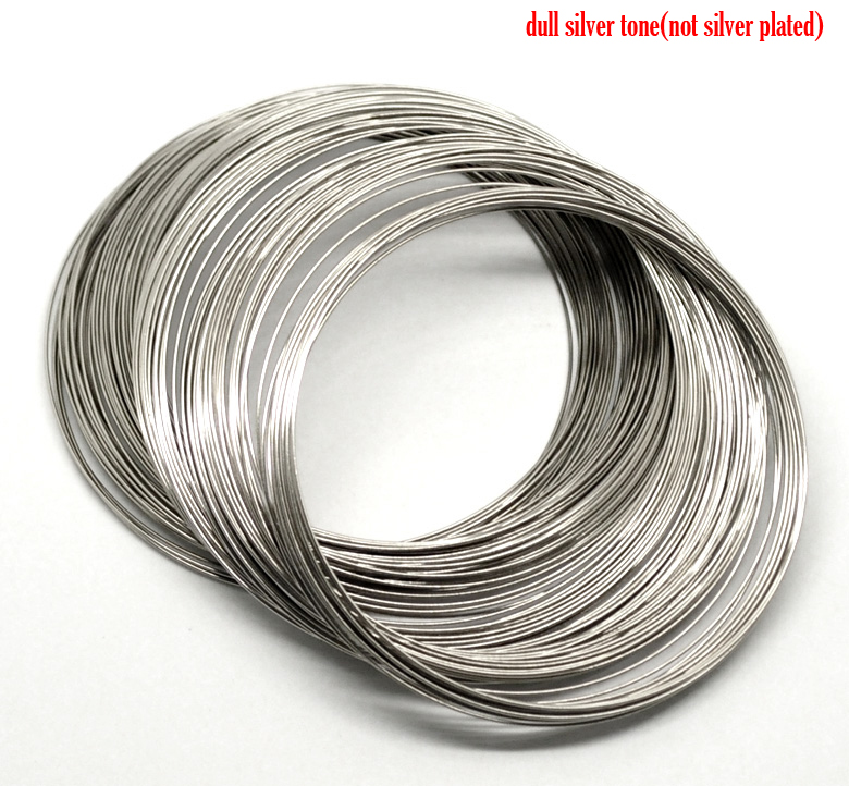DoreenBeads Steel Wire Memory Beading Bracelets Components Round Silver Tone 8cm-8.5cm Dia, 35 Loops New
