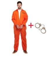 MENS PRISONER OVERALL ORANGE JUMPSUIT CONVICT HALLOWEEN FANCY DRESS COSTUME