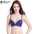 Annajolly mujeres push up bras top bordado sexy sujetador ajustable cómodo u8569 azul ropa interior lencería manera del envío