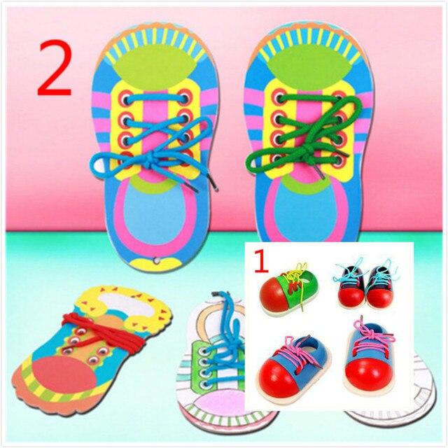 1 pc niños Montessori juguetes educativos niños juguetes de madera niño cordones zapatos educación temprana Montessori enseñanza SIDA puzle
