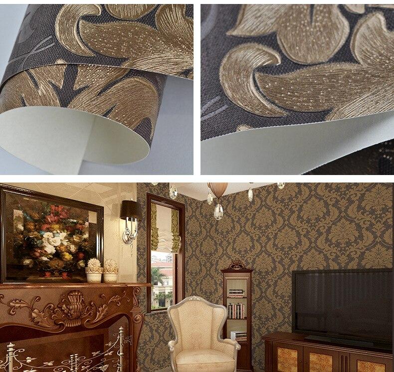 Papier peint auto-adhésif de luxe papier peint moderne en vinyle damassé métallique papier peint chambre salon papier peint rouleau