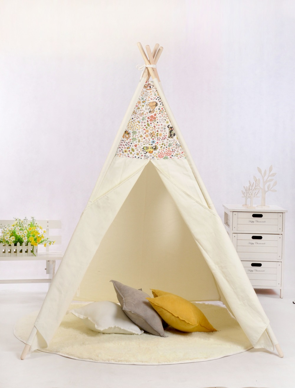 все цены на Natural Canvas Large Kids Teepee Children Play Tent Tipi Tent Tepee Kids Wigwam