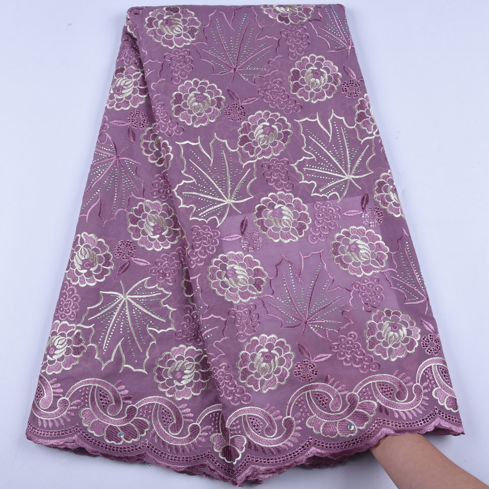 New Style Swiss Voile Lace In Switzerland High Quality Swiss Cotton Lace Fabric With Stones For