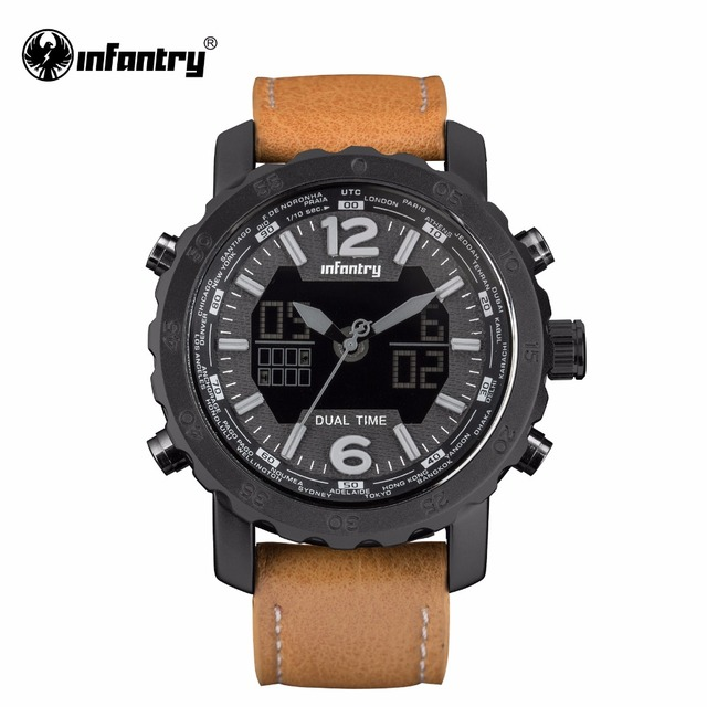 INFANTRY Mens Quartz Watch Luxury Brand Sports Military Dual Time Digital Wristwatch Brown Leather New Relogios Masculino 2017