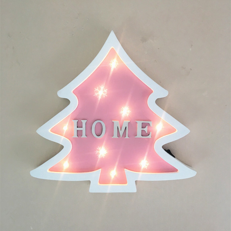 Jiaderui LED Christmas Tree Night Light Wooden Table Wall Lamps ...