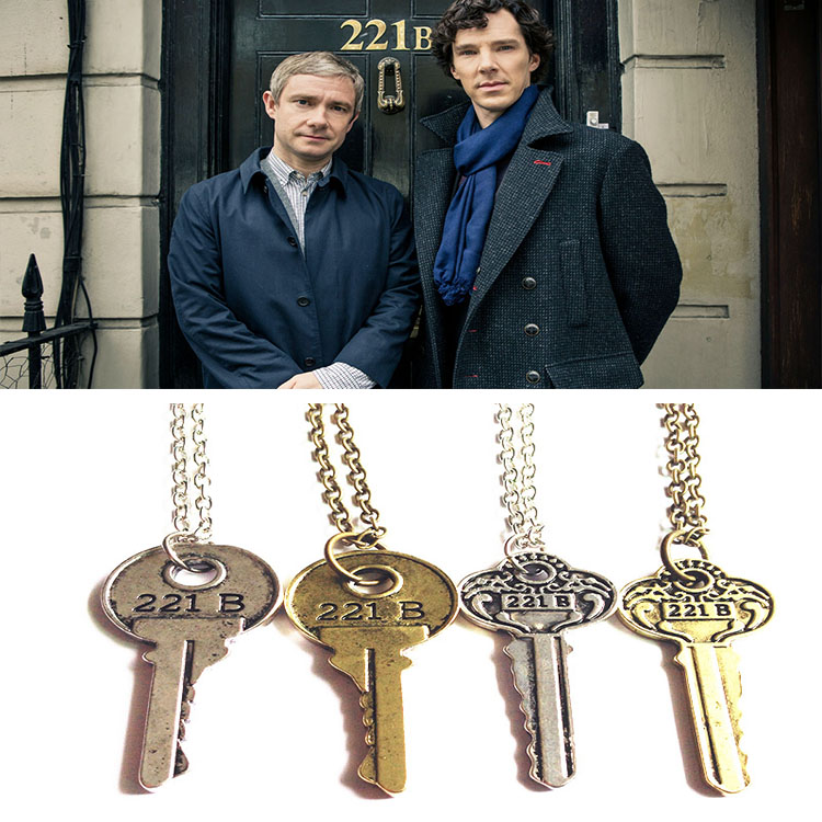 Sherlock Holmes movie mystery surrounding 221B key pendant necklace couple necklace