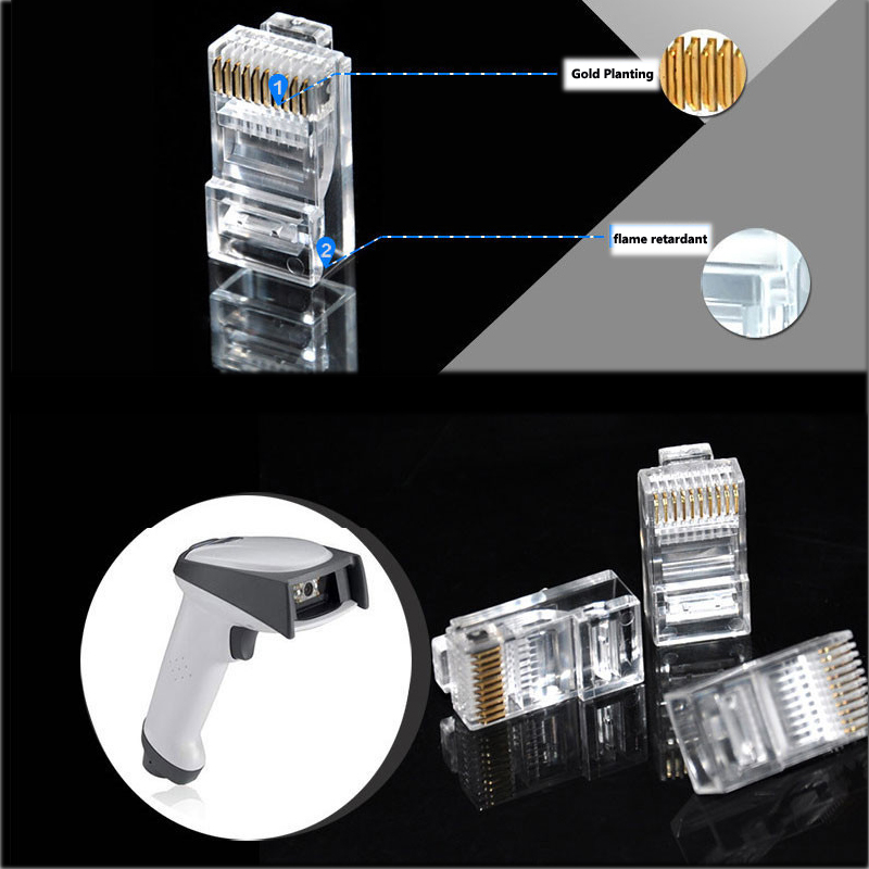100 pcs RJ48 RJ-48 Plug Modular Stranded 10P10C rodada cabo de rede masculinos Glod plantio Jack Pin conector para Barcode Scanner