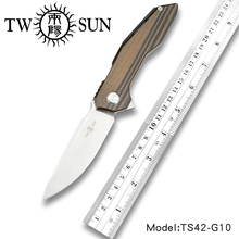 TWOSUN D2 blade Folding Pocket Knife tactical knife Survival knives camping outdoor EDC ball Bearings Fast Open G10 TS42-G10