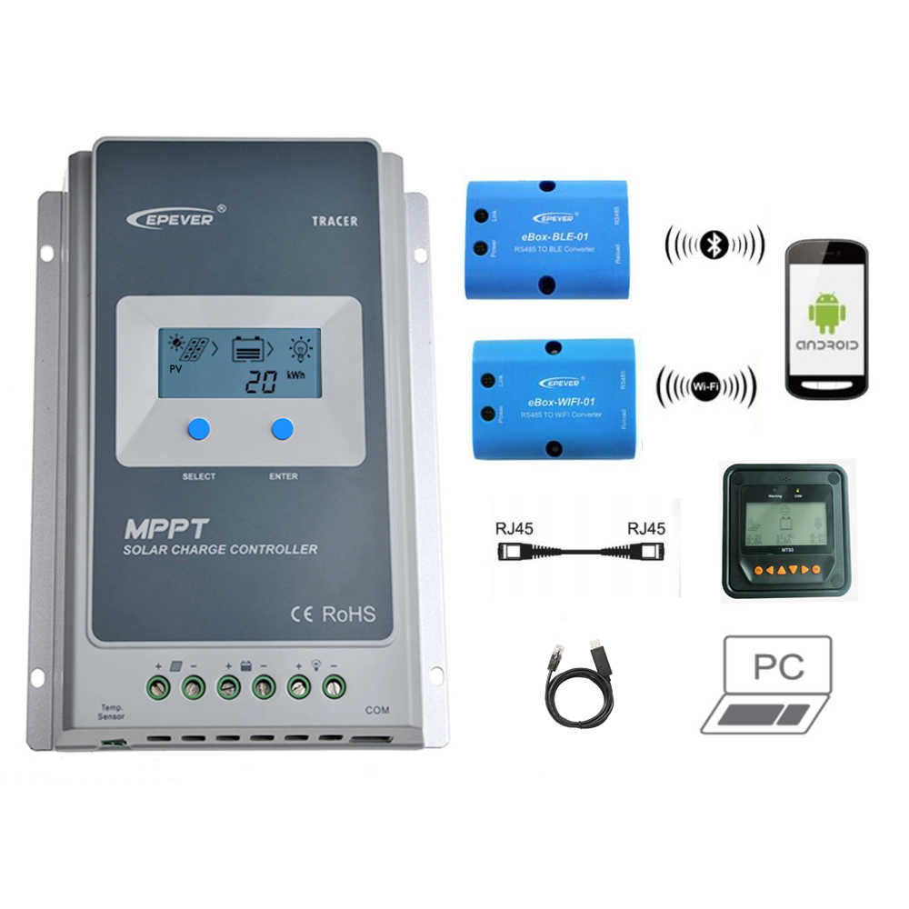 Tracer 3210AN 30A MPPT Solar Charge Controller 12V 24V LCD EPEVER Regulator MT50 WIFI Bluetooth PC Communication Mobile APP