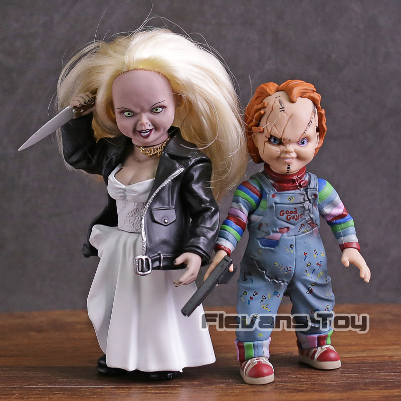 Child's Play Bride of Chucky Chucky & Tiffany PVC Action Figure Collectible Model Toy 2pcs/set цена 2017