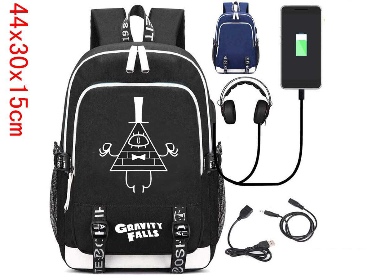 9a55c50623a2 Detail Feedback Questions about Giancomics Hells Kitchen Gravity Falls  Backpack Black Canvas Knapsack with USB Charging Port and Headset Port  Fashion Otaku ...