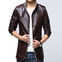 IFRICH Mens PU Leather Jackets Autumn Winter Smart Casual Leather Jacket Men Slim Business Jacket Faux Leather Fur Coat