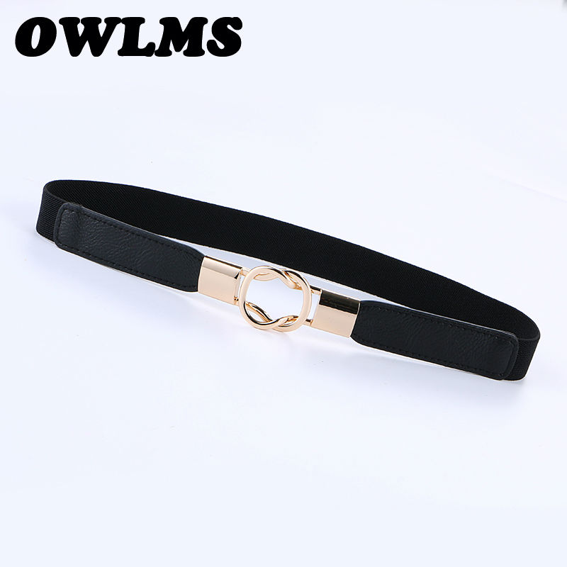 Newest Elastic Cummerbunds Thin Leather Girls Fashion Gifts For Women Dress Decorate Cummerbund Black Color Women's Belts Party