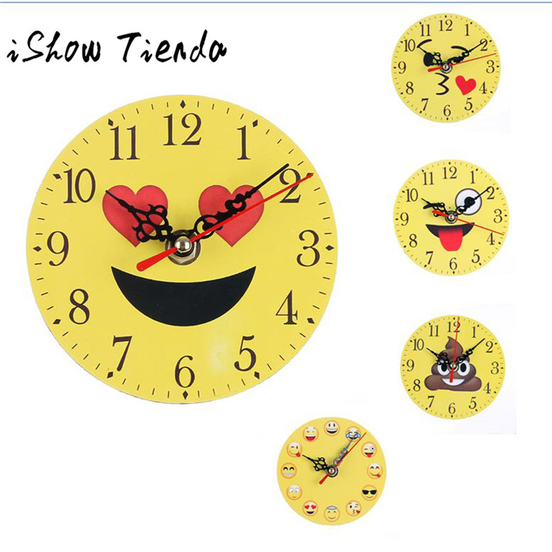 Silent Sweep Emoji Emoticon Bell Desk Creative Digital Clock 2017 Expression round bedroom clock fashion cartoon expression home