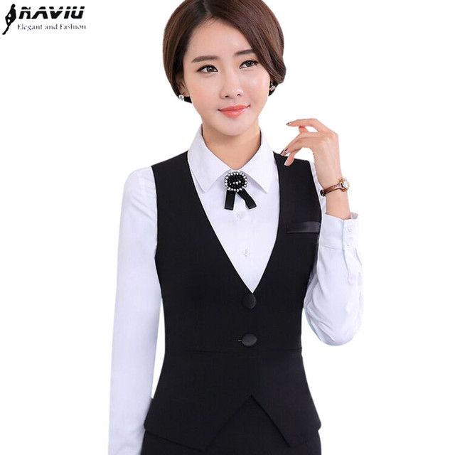 faaf043c51f New Fashion business career ladies vest work wear uniforms Slim V-Neck  Formal jackets women office vests coat plus size tops