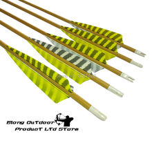 Free Shipping 12PCS Wood Camo Pure Carbon Hunting Arrows With Strip Turkey Feather For Outdoor Archery Bow