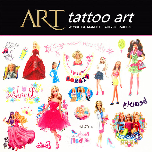Cartoon Beauty Children Temporary Tattoos Waterproof Henna Tattoo Body Art Tattoo Stickers, Cartoon Modelling Wall Stickers