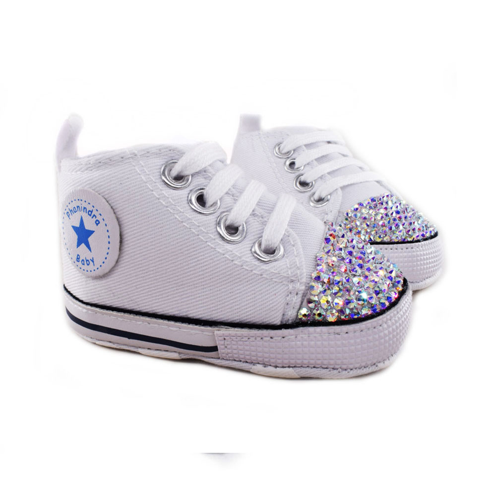 2019 Bling Baby Shoes Rainestone  Girls  Shoes Fashion Canvas Princess Toddler Shoes Casual Baby Sneakers First Walkers