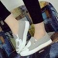 2016 Летняя Обувь Sanglaide Осень Женщины Моды Скольжения На Женщин Телевизор С Повседневная Обувь Холст Отдыха Эспадрильи Slipony Студент Обувь