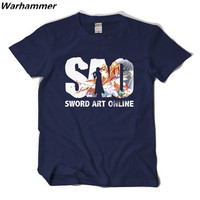 Warhammer 2017 Anime Men T Shirt Print Sword Art Online Summer Cosplay Tee Shirt Homme XXL