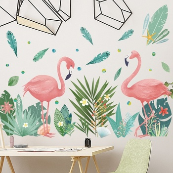Nordic style Flamingo Couple Green Leaves Wall Stickers 1