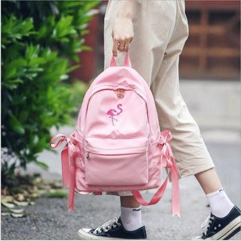 Embroidered student bag female shoulder bag Korean version of the fresh girl fashion Laptop travel large capacity backpack Fashion Backpacks