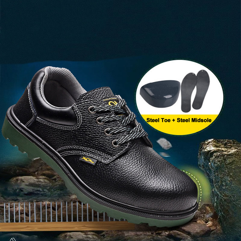 High Quality Work Safety Shoe Boots Anti-Slip Anti-Stab Work Boots Leather Steel Toe Cap And Midsole For Factory Contrusction tigergrip rubber non slip safety shoe boot cap visitor overshoe anti smashing steel toe cap boot men and women work shoes cover