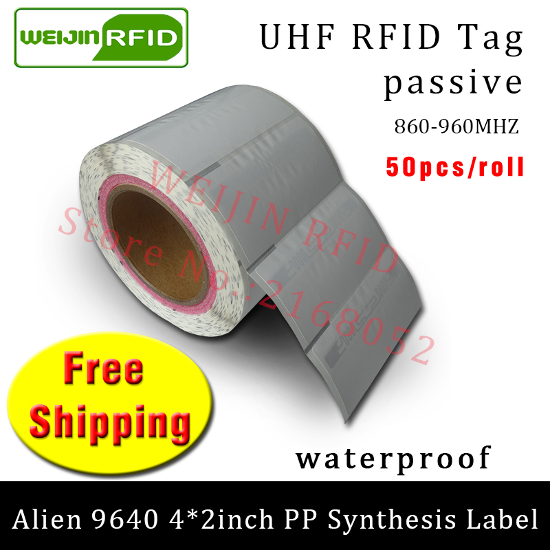 RFID tag UHF sticker Alien 9640 PP paper 915mhz868mhz 860-960MHZ Higgs3 EPC 6C 50pcs free shipping adhesive passive RFID label 500pcs rfid one off coated paper wristbands tag epc gen2 support alien h3 chip used for personnal management