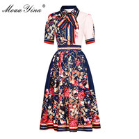 MoaaYina Fashion Designer Set Summer Women Short sleeve Floral Print Elegant Shirt Tops+Pleated Skirt Two piece suit