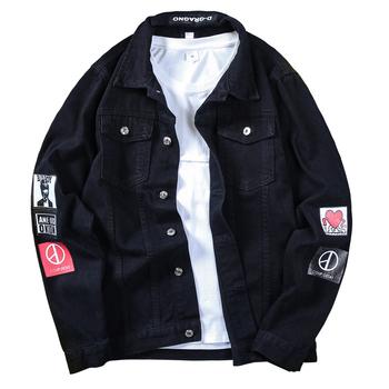 Męska duży rozmiar kurtki jeansowe światła niebieski Jean kurtki nowa moda mężczyzna bawełna czarny Denim kurtki mężczyźni luźne jeansowe kurtki tanie i dobre opinie Klasa CLASSDIM Octan Regularne Formalne Skręcić w dół kołnierz Drukuj Konwencjonalne Pojedyncze piersi Standardowych