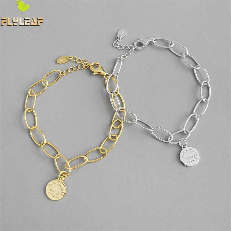 Flyleaf 18k Gold Geometric Letter Round Real 925 Sterling Silver Bracelets For Women Fashion Fine Jewelry Bracelets & Bangles