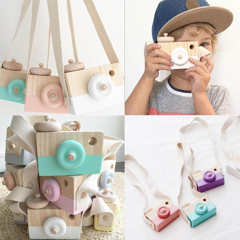 Cute Wood Baby Kids Camera Toys