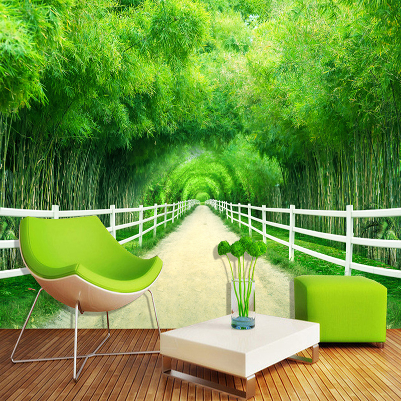Custom 3D Mural Wallpaper Modern Simple Bamboo Forest Fence Path Photo Wall Painting Living Room TV Sofa Backdrop Wall Paper 3 D 3d stereoscopic large mural custom wallpaper living room tv backdrop wall paper bedroom wall painting cartoon film kung fu panda
