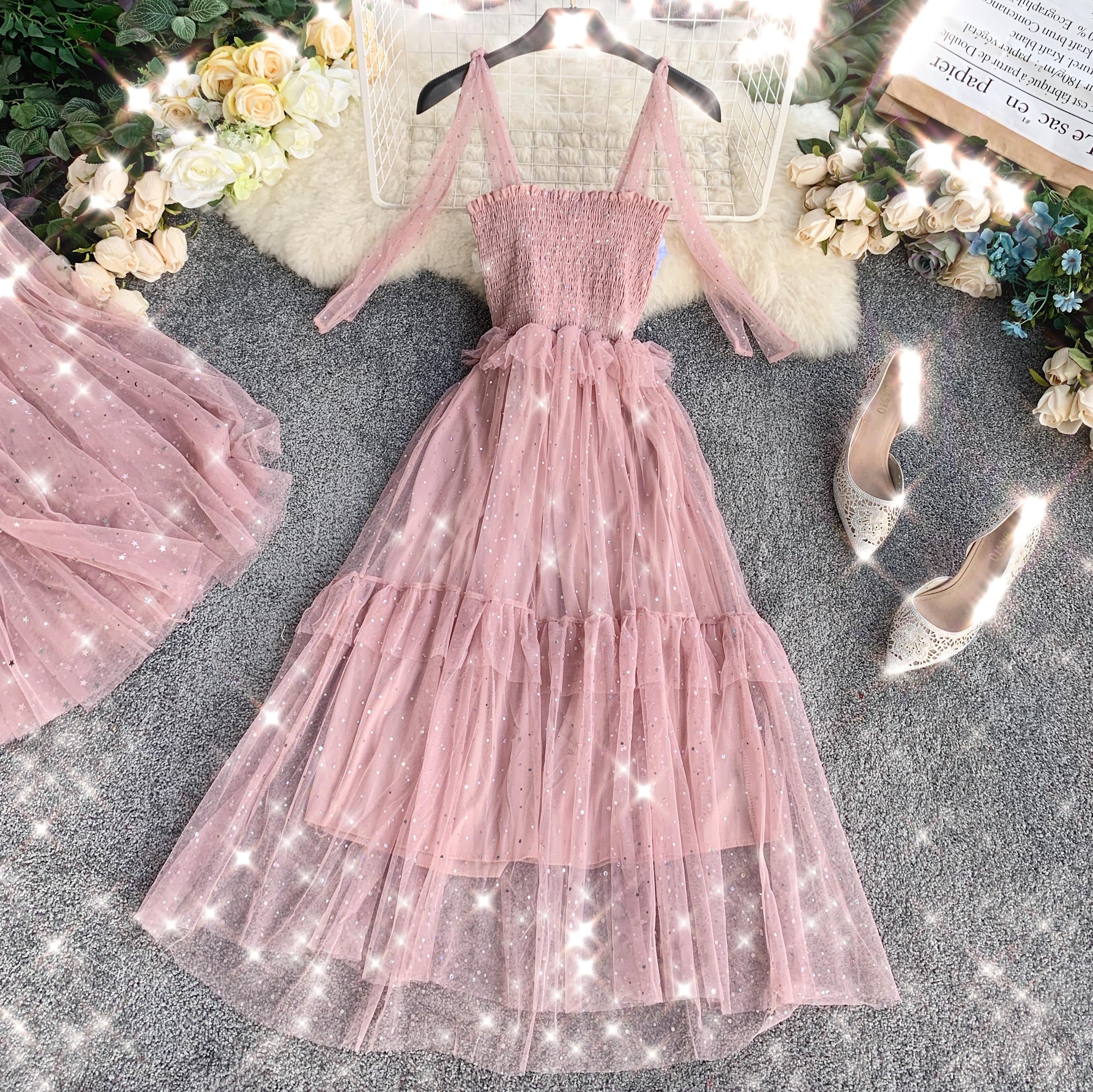 Sequins V-Neck Gauze Ruffles Mesh A-Line Dress 3