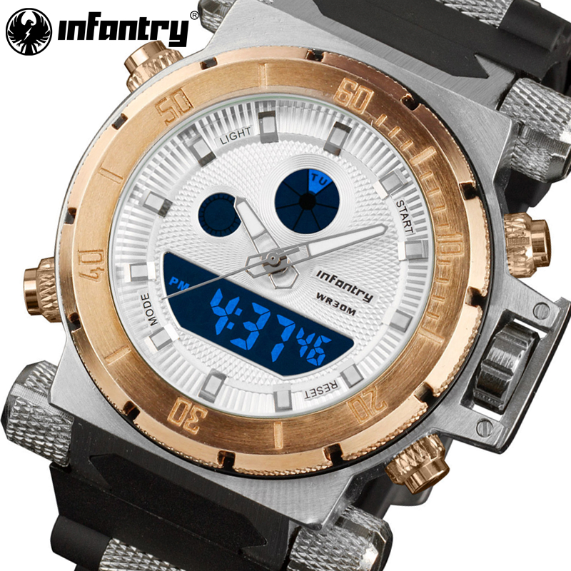 INFANTRY Luxury Brand Men Analog Digital Sports Watches Men's Army Military Watch Man Chronograph Quartz Clock Relogio Masculino hexagon stamp mould die set punch for the single punch tablet press machine free shipping