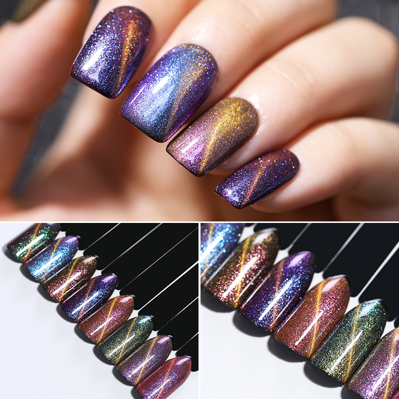 UR SUGAR 6 Bottles Holographic Chameleon Glitter Magnetic Gel Nail Art Magic Box  Sequins Magnetic Soak Off UV Nail Art Polish