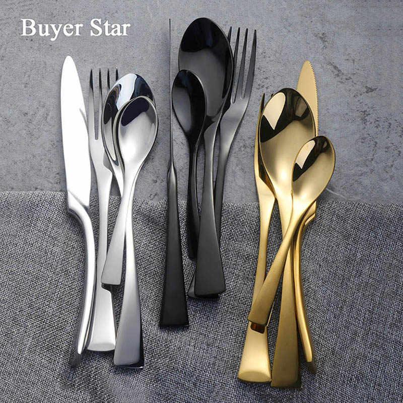 Pembeli Bintang Bergaya Set Peralatan Makan Sendok Garpu Sendok Garpu Stainless Steel 304 Peralatan Dapur Alat Makan Termasuk Pisau Garpu Sendok 18/10