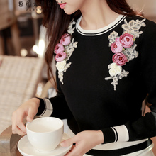 f073cc1996f18c Buy women sweater black flowers and get free shipping on AliExpress.com