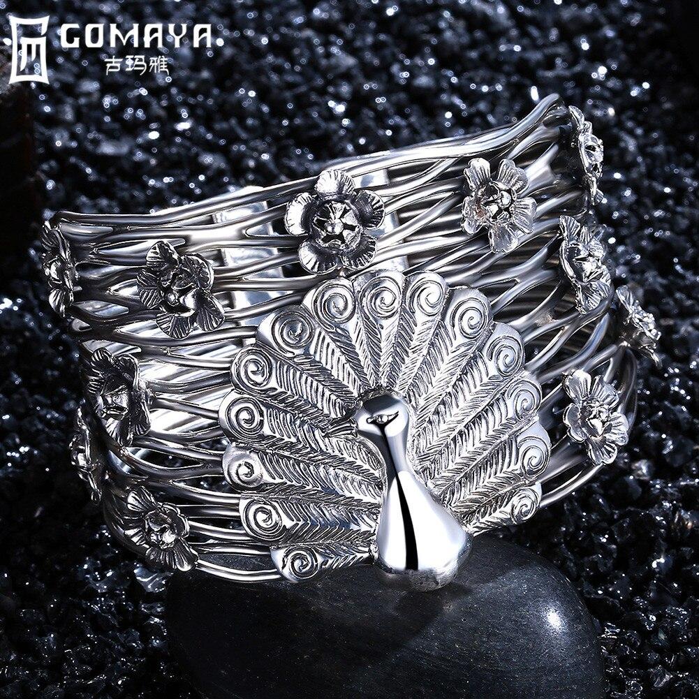 GOMAYA Vintage Curved Ethnic 990 Sterling Silver Bangles Cuff Bracelet Punk Boho Statement Women Jewelry Gift Peacock Flower все цены
