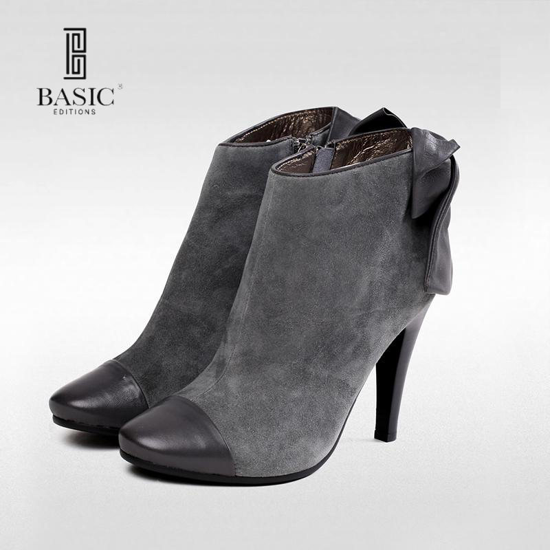 Basic Editions Women Winter Suede Leather Bowtie Zipper Ankle Boots - 591-4-1 basic editions women dark grey suede leather spike high heel chain accessories winter long boots 1105 1422 aj91