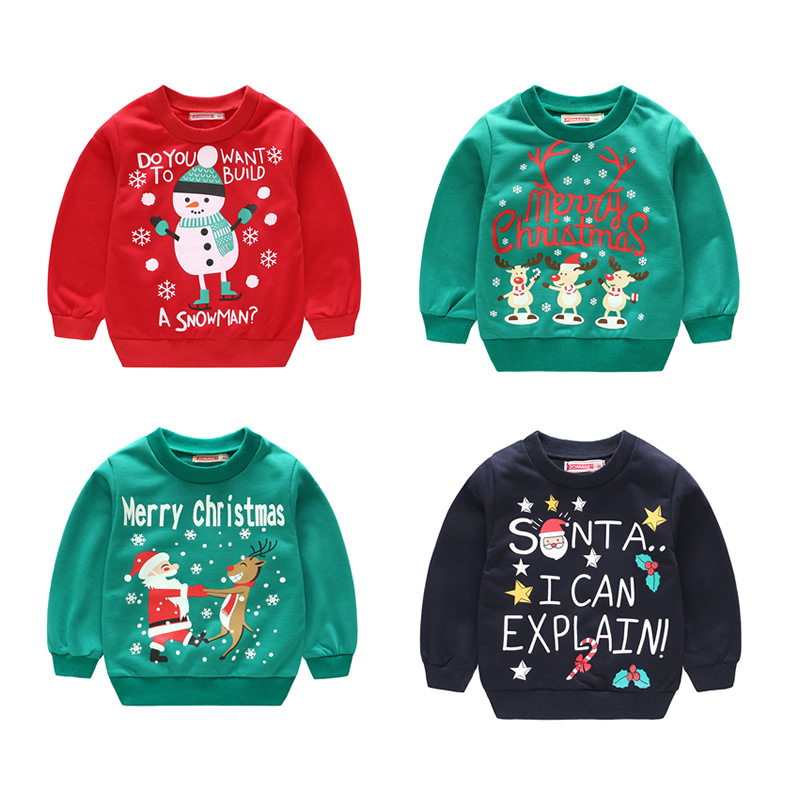 1-5Y Children's Christmas Costumes Baby Girls Sweatshirt Spring Autumn Long Sleeve T-Shirt Toddler Boys Sweater Kids Clothes Top round neck long sleeve 3d coins print sweatshirt