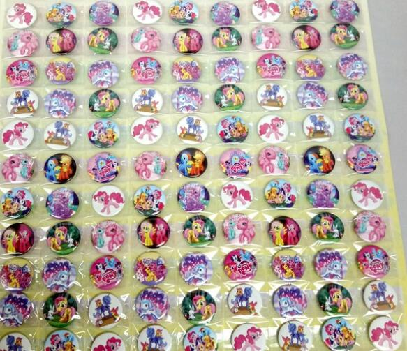 Free Shipping New 108pcs/set Cartoon my little pony Badge Button Pins Party Gifts Diameter 2.5cm