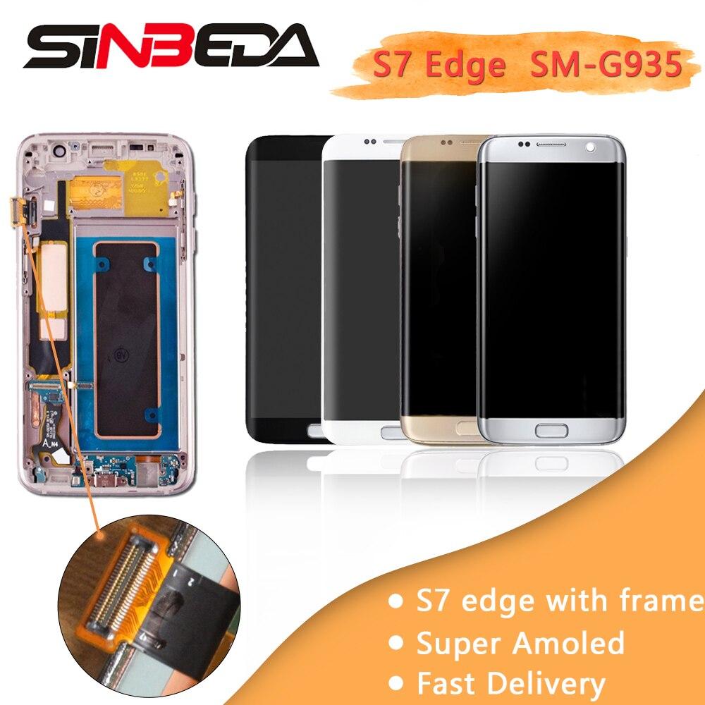 Sinbeda AAA AMOLED écran lcd Pour Samsung Galaxy S7 Bord G935 G935F G935A écran lcd + ensemble numériseur à écran tactile Avec Cadre