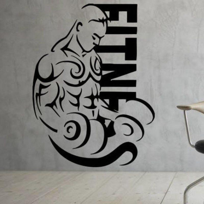 Gym Sticker font b Fitness b font Decal font b Bodybuilding b font Dumbbell Posters Vinyl