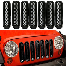 For 07-16 Jeep JK Wrangler Car Front Mesh Grille Cover Front Grille Trim Ring Insert Mesh Frame Styling Cover Sticker