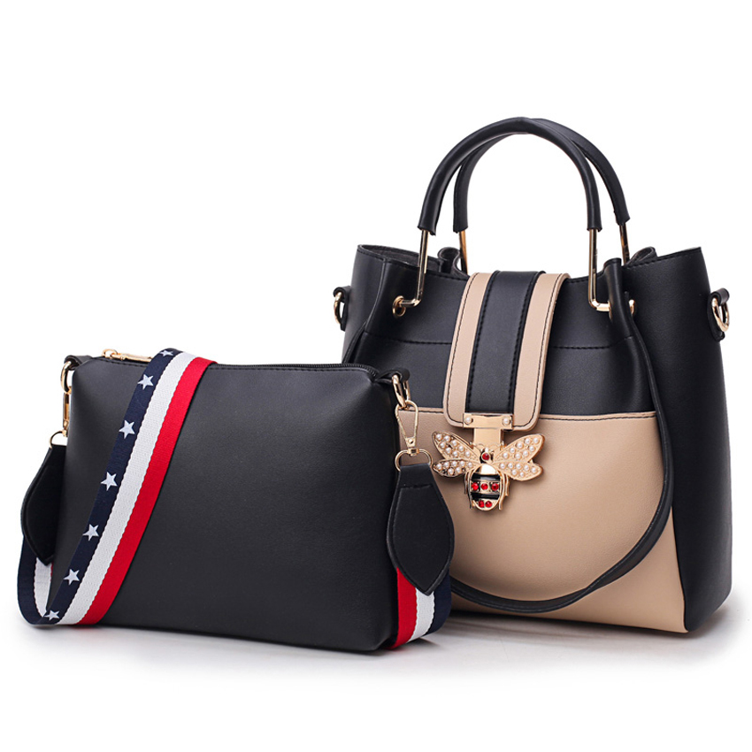 2018 new Designer Crossbody Bag 2pcs   set Fashion Bee Pearl Women Bags  Messenger Handbags Women Famous Brands Tote Shoulder Bag 8036474e70d1