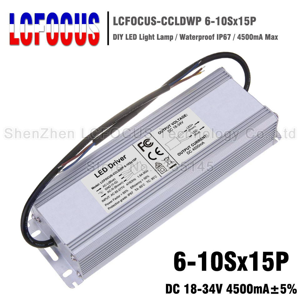 150W LED Driver 6-10Sx15P Waterproof 4500mA 18-34V For 90 120 150 W <font><b>Watt</b></font> COB LED Chip Lighting Transformers <font><b>Power</b></font> <font><b>Supply</b></font> image