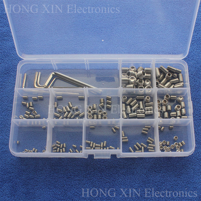 M3/M4/M5/M6/M8 Hex Thread Stainless Steel PC Assortment Grub Screws Bolt Assortment Socket kit Fastener Hardware Cup Point screw 220pcs lot m3 m4 m6 m8 head socket hex grub screw assortment cup point set stainless steel 3mm 4mm 5mm 6mm 8mm 10mm 10 sizes